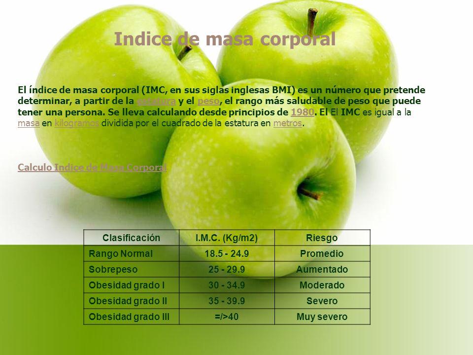 Indice de masa corporal El índice de masa corporal (IMC, en sus siglas inglesas BMI) es un número que pretende determinar, a partir de la estatura y el peso, el rango más saludable de peso que puede tener una persona.