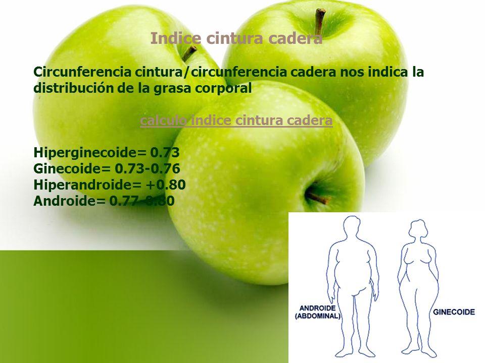 Indice cintura cadera Circunferencia cintura/circunferencia cadera nos indica la distribución de la grasa corporal calculo indice cintura cadera Hiperginecoide= 0.73 Ginecoide= 0.73-0.76 Hiperandroide= +0.80 Androide= 0.77-0.80