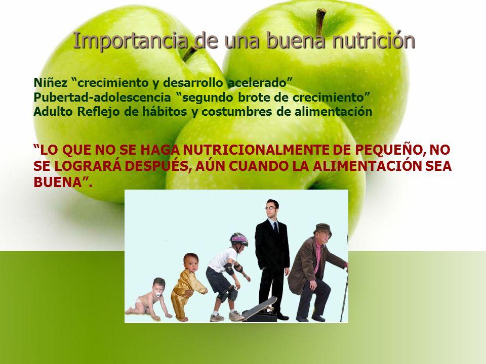Importancia de una buena nutrición Niñez crecimiento y desarrollo acelerado Pubertad-adolescencia segundo brote de crecimiento Adulto Reflejo de hábitos y costumbres de alimentación LO QUE NO SE HAGA NUTRICIONALMENTE DE PEQUEÑO, NO SE LOGRARÁ DESPUÉS, AÚN CUANDO LA ALIMENTACIÓN SEA BUENA .