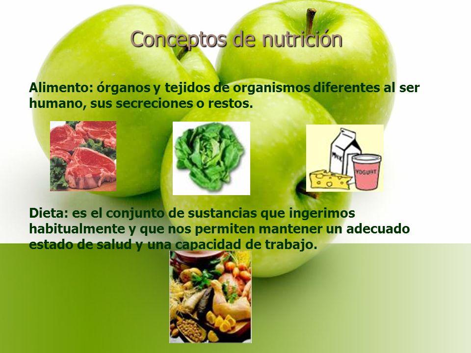 Conceptos de nutrición Alimento: órganos y tejidos de organismos diferentes al ser humano, sus secreciones o restos.