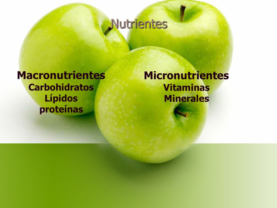 Nutrientes Macronutrientes Carbohidratos Lípidos proteínas Micronutrientes Vitaminas Minerales