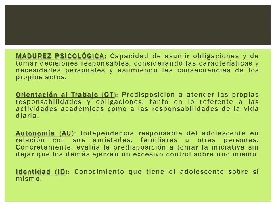 MADUREZ PSICOLÓGICA: MADUREZ PSICOLÓGICA: Capacidad de asumir obligaciones y de tomar decisiones responsables, considerando las características y nece