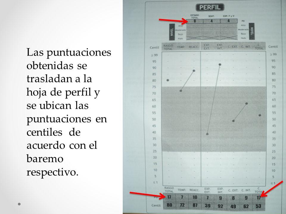 Las puntuaciones obtenidas se trasladan a la hoja de perfil y se ubican las puntuaciones en centiles de acuerdo con el baremo respectivo.