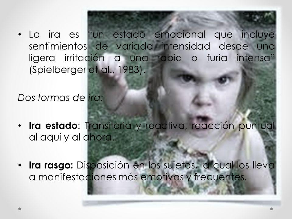 """La ira es """"un estado emocional que incluye sentimientos de variada intensidad desde una ligera irritación a una rabia o furia intensa"""" (Spielberger et"""