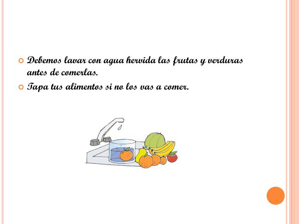 Debemos lavar con agua hervida las frutas y verduras antes de comerlas. Tapa tus alimentos si no los vas a comer.