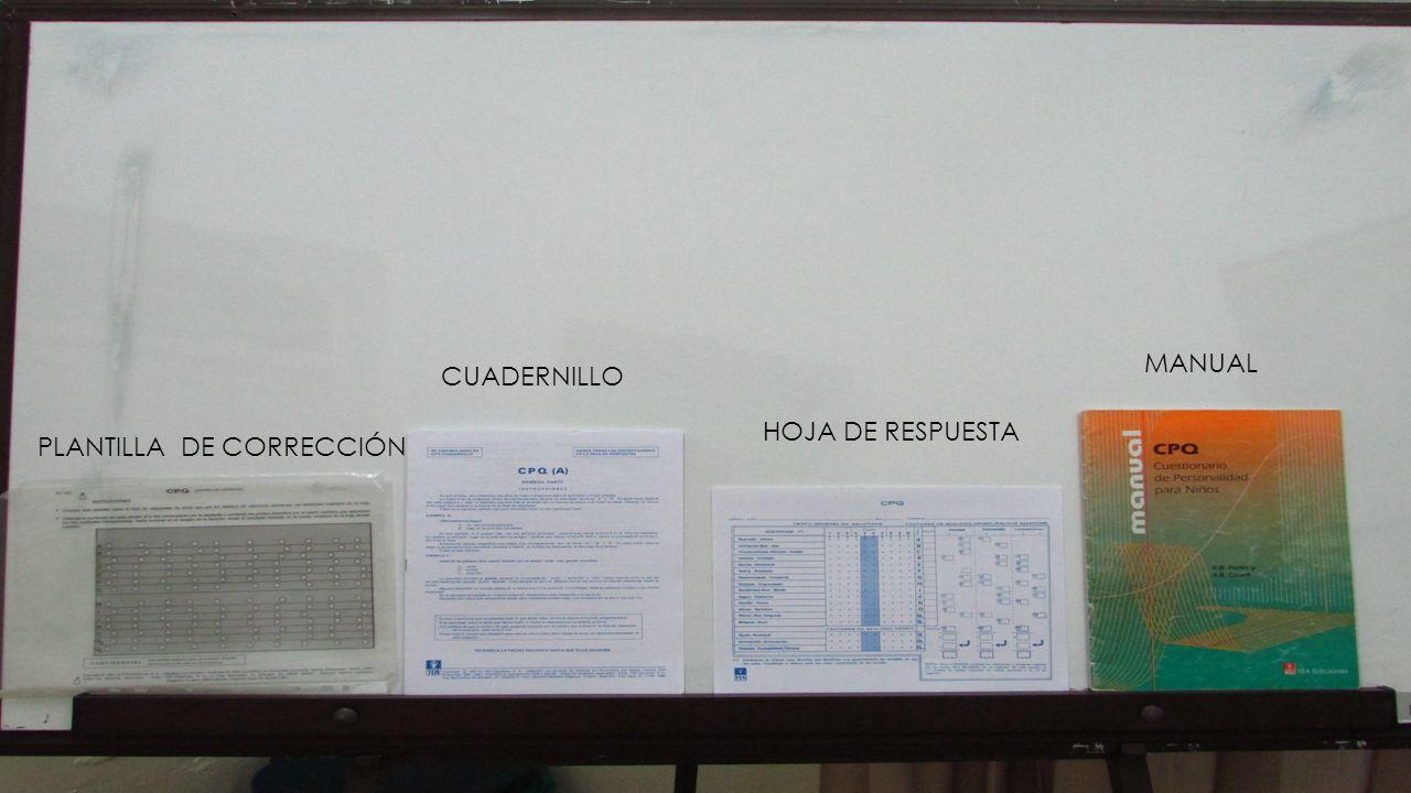 CUADERNILLO MANUAL HOJA DE RESPUESTA PLANTILLA DE CORRECCIÓN