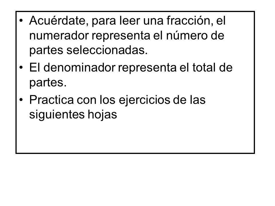 Acuérdate, para leer una fracción, el numerador representa el número de partes seleccionadas.