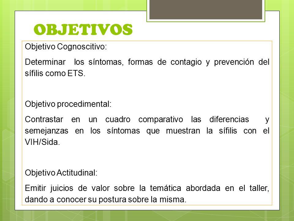 OBJETIVOS Objetivo Cognoscitivo: Determinar los síntomas, formas de contagio y prevención del sífilis como ETS.