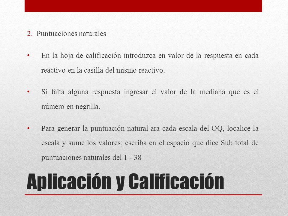 Aplicación y Calificación 2. Puntuaciones naturales En la hoja de calificación introduzca en valor de la respuesta en cada reactivo en la casilla del