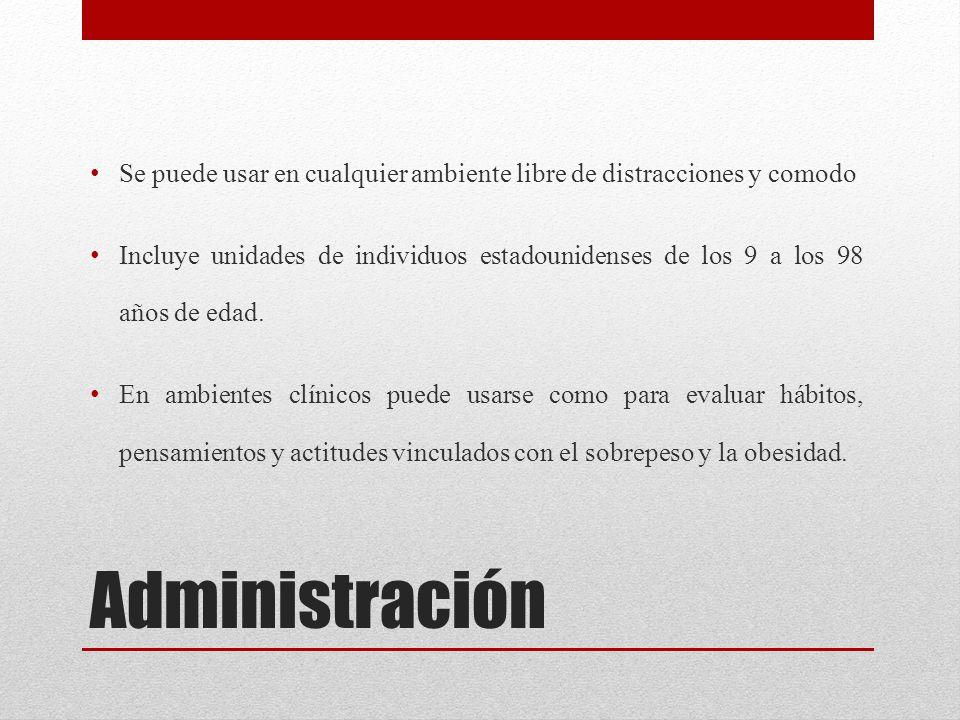 Administración Se puede usar en cualquier ambiente libre de distracciones y comodo Incluye unidades de individuos estadounidenses de los 9 a los 98 añ