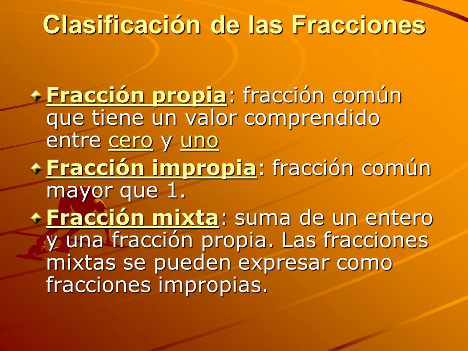 Clasificación de las Fracciones Fracción propiaFracción propia: fracción común que tiene un valor comprendido entre cero y uno cerouno Fracción propiacerouno Fracción impropiaFracción impropia: fracción común mayor que 1.