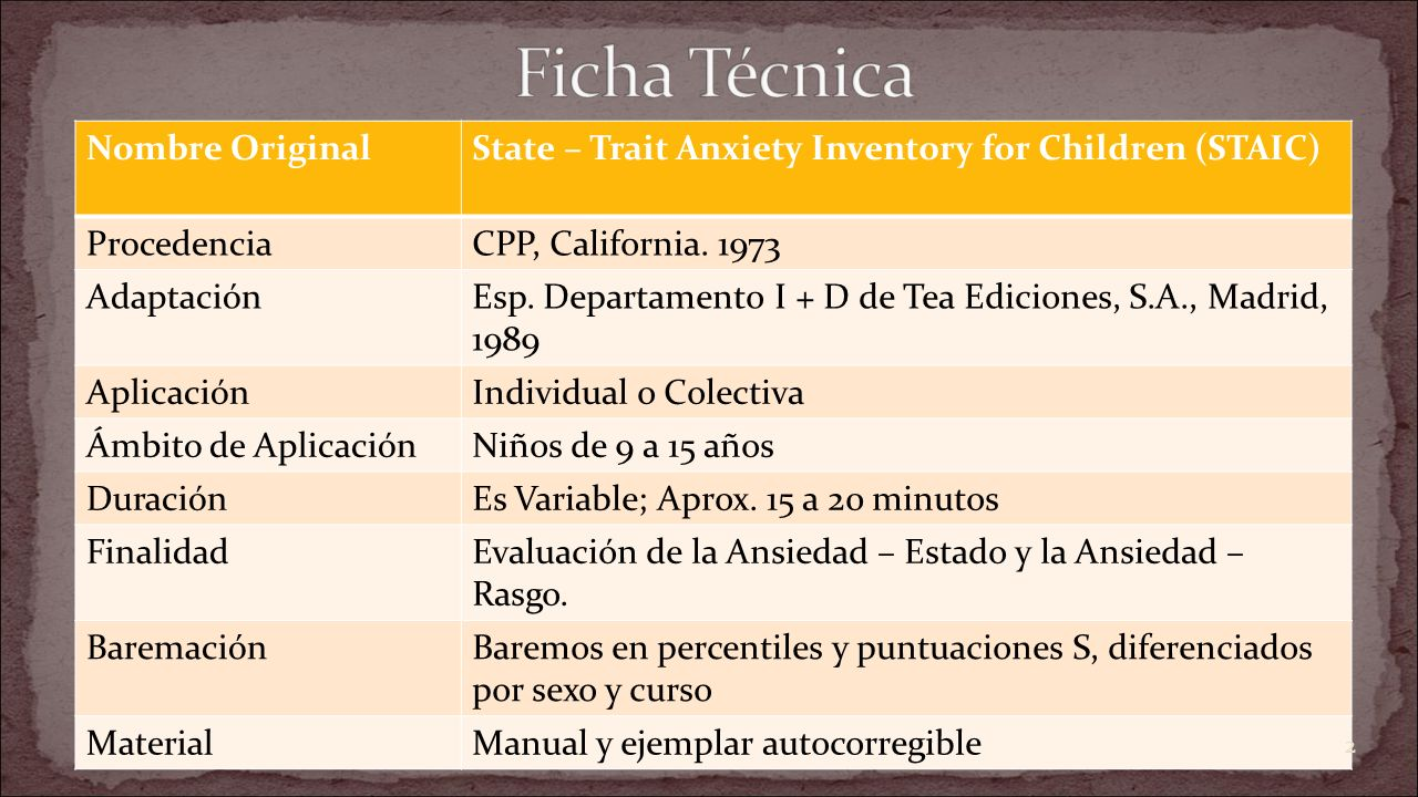 Nombre OriginalState – Trait Anxiety Inventory for Children (STAIC) ProcedenciaCPP, California. 1973 AdaptaciónEsp. Departamento I + D de Tea Edicione