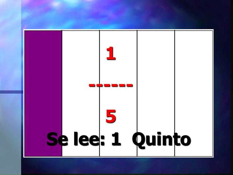 1------5 Se lee: 1 Quinto