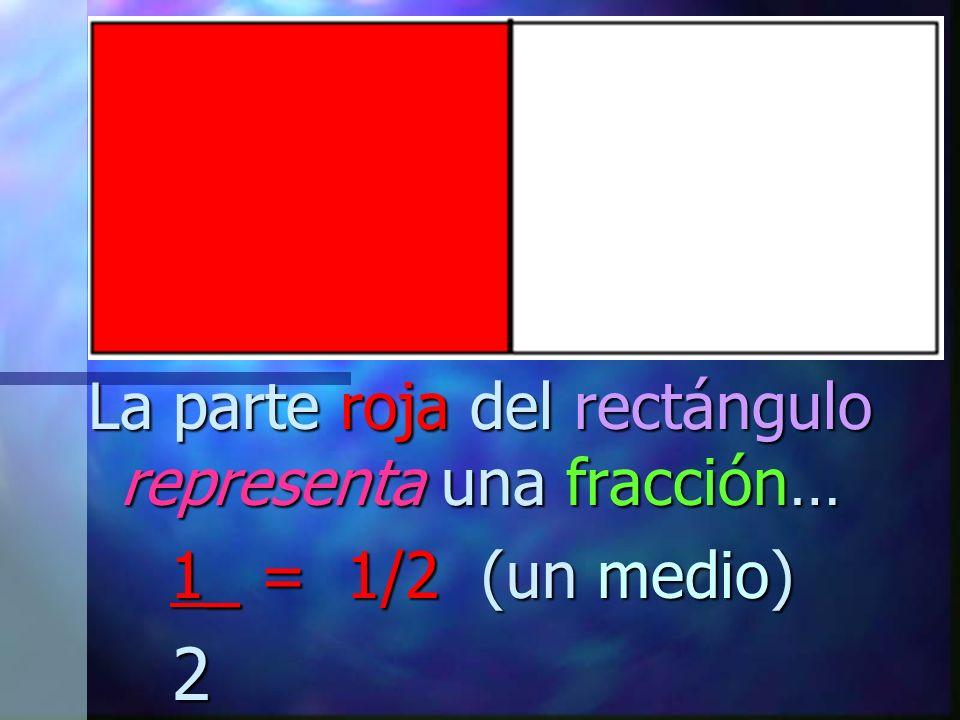 La parte roja del rectángulo representa una fracción… 1_ = 1/2 (un medio) 1_ = 1/2 (un medio) 2 2