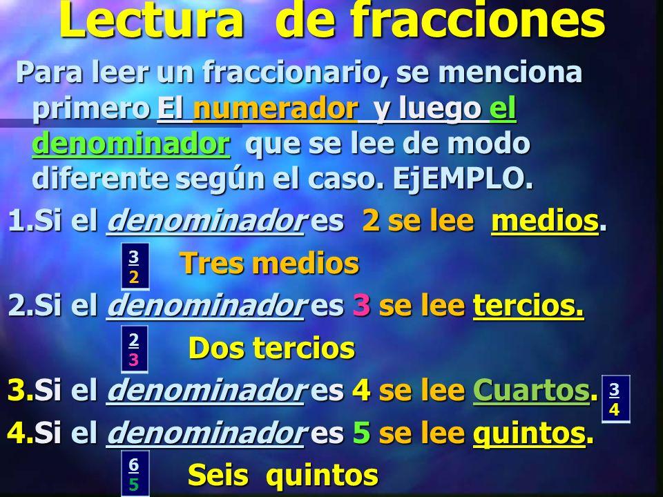 Lectura de fracciones Para leer un fraccionario, se menciona primero El numerador y luego el denominador que se lee de modo diferente según el caso.