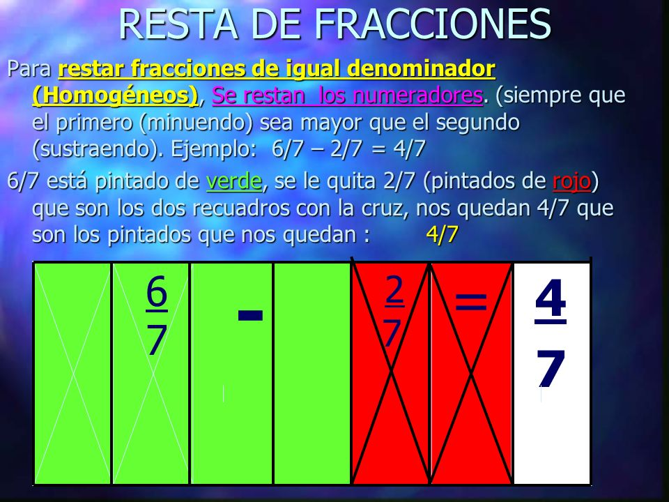 RESTA DE FRACCIONES Para restar fracciones de igual denominador (Homogéneos), (Homogéneos), Se restan los numeradores.