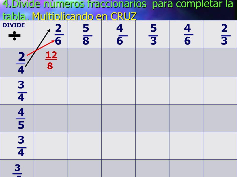Completa la siguiente tabla: No olvides Completa la siguiente tabla: No olvides Multiplicar los numeradores y los denominadores Multiplicar X 2 3 4 3 5 4 6 5 3 6 3 4 6 12 2 6 10 5 8 4 9 3 7 2 10