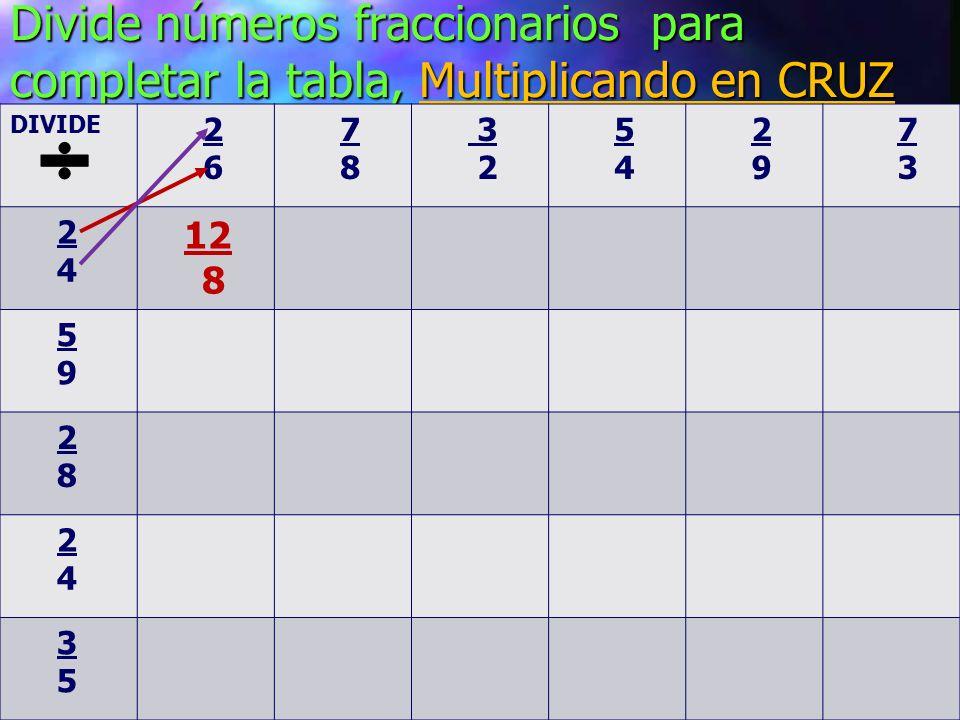 Divide números fraccionarios para completar la tabla, Multiplicando en CRUZ DIVIDE 2 6 7 8 3 2 5 4 2 9 7 3 2 4 12 8 5 9 2 8 2 4 3 5