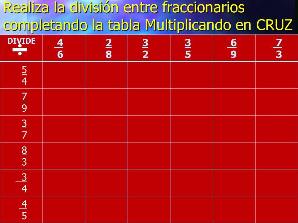 Realiza la división entre fraccionarios completando la tabla Multiplicando en CRUZ DIVIDE 4 6 2 8 3 2 3 5 6 9 7 3 5 4 7 9 3 7 8 3 4 5