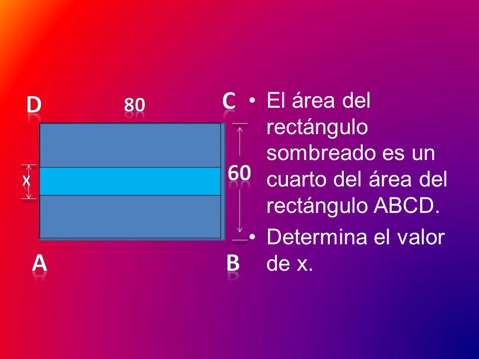 El área del rectángulo sombreado es un cuarto del área del rectángulo ABCD.