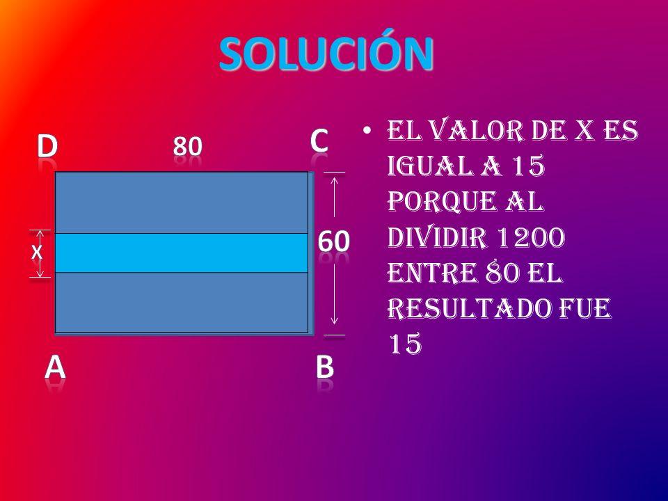 El valor de x es igual a 15 porque al dividir 1200 entre 80 el resultado fue 15 SOLUCIÓN