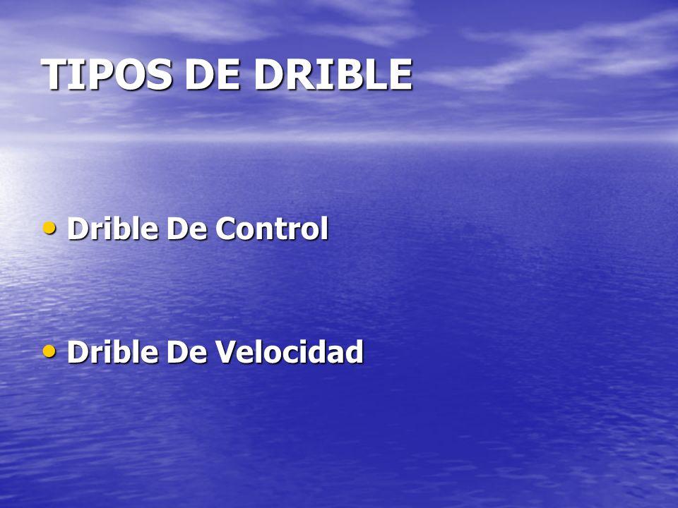 TIPOS DE DRIBLE Drible De Control Drible De Control Drible De Velocidad Drible De Velocidad