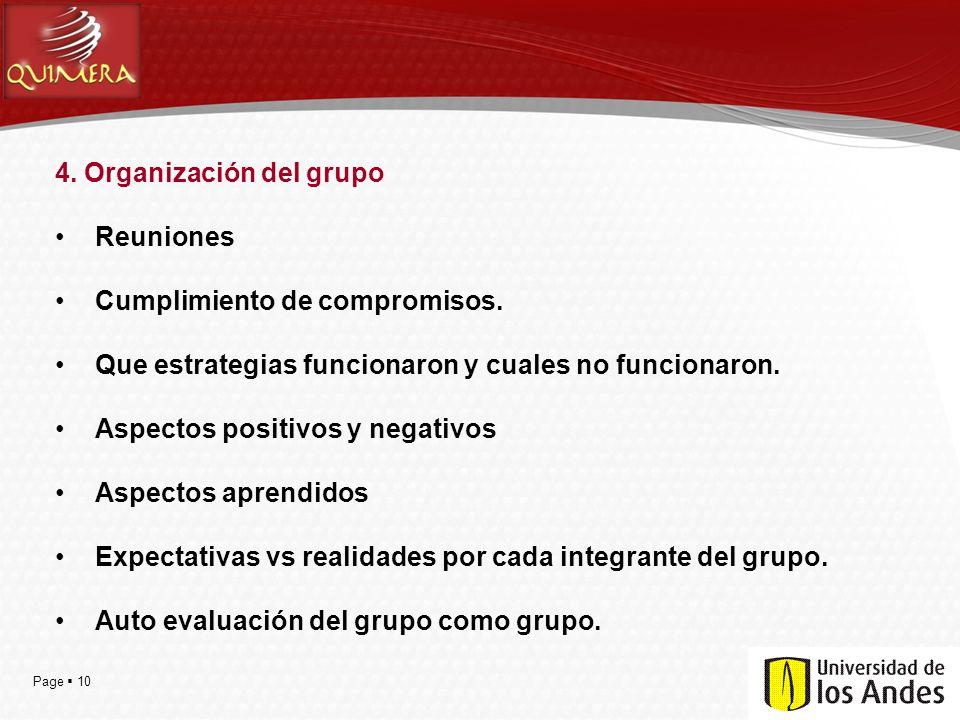 Page  10 4. Organización del grupo Reuniones Cumplimiento de compromisos. Que estrategias funcionaron y cuales no funcionaron. Aspectos positivos y n