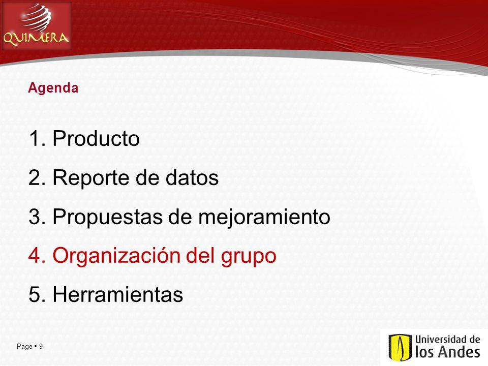 Page  9 Agenda 1. Producto 2. Reporte de datos 3. Propuestas de mejoramiento 4. Organización del grupo 5. Herramientas