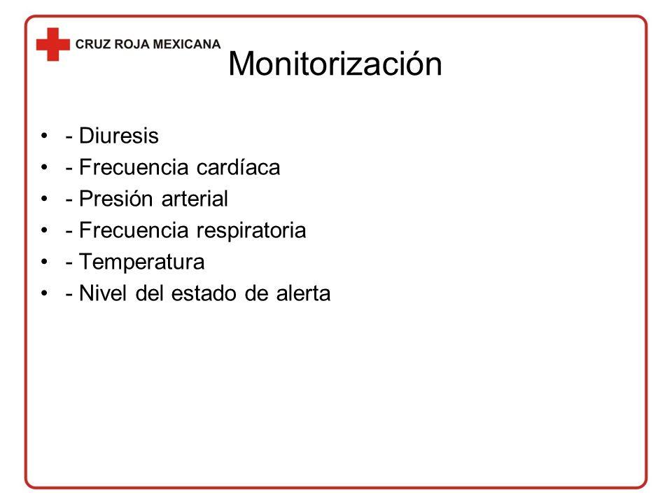 Monitorización - Diuresis - Frecuencia cardíaca - Presión arterial - Frecuencia respiratoria - Temperatura - Nivel del estado de alerta