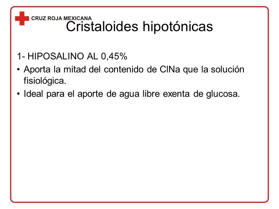 Cristaloides hipotónicas 1- HIPOSALINO AL 0,45% Aporta la mitad del contenido de ClNa que la solución fisiológica.