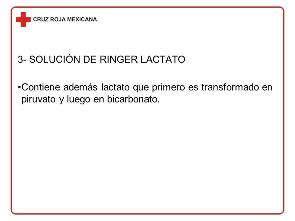 3- SOLUCIÓN DE RINGER LACTATO Contiene además lactato que primero es transformado en piruvato y luego en bicarbonato.