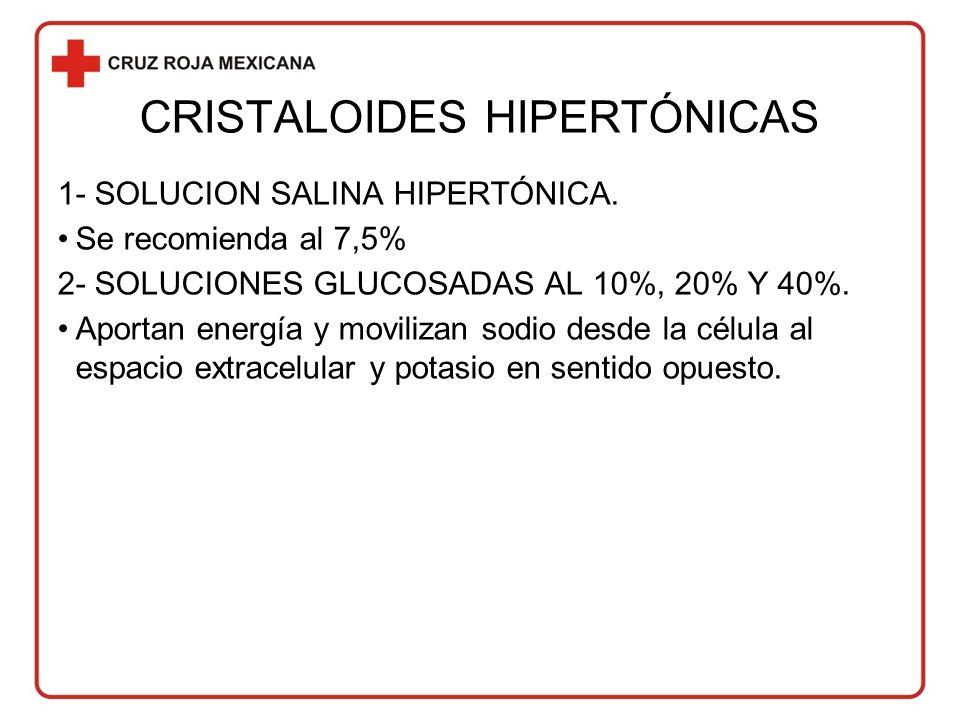 CRISTALOIDES HIPERTÓNICAS 1- SOLUCION SALINA HIPERTÓNICA.
