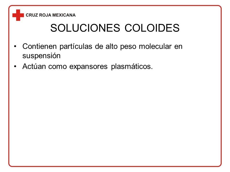 SOLUCIONES COLOIDES Contienen partículas de alto peso molecular en suspensión Actúan como expansores plasmáticos.