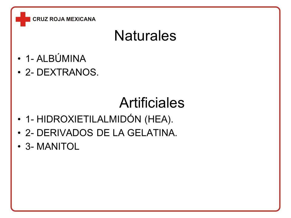 Naturales 1- ALBÚMINA 2- DEXTRANOS.Artificiales 1- HIDROXIETILALMIDÓN (HEA).