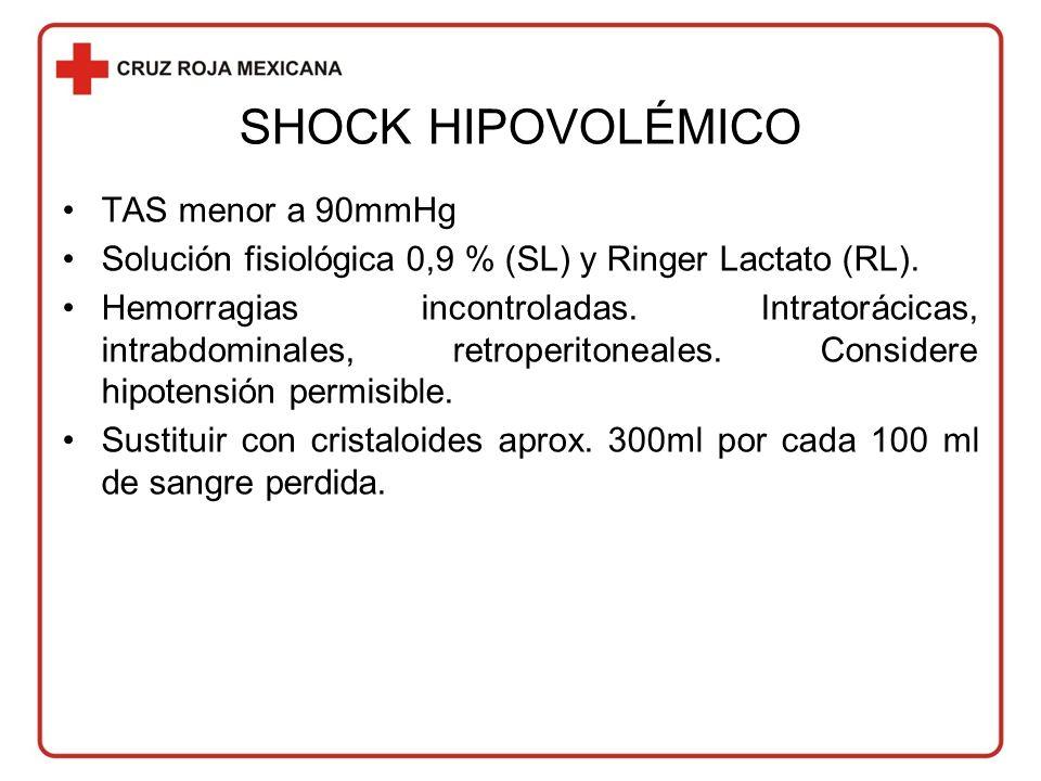 SHOCK HIPOVOLÉMICO TAS menor a 90mmHg Solución fisiológica 0,9 % (SL) y Ringer Lactato (RL).