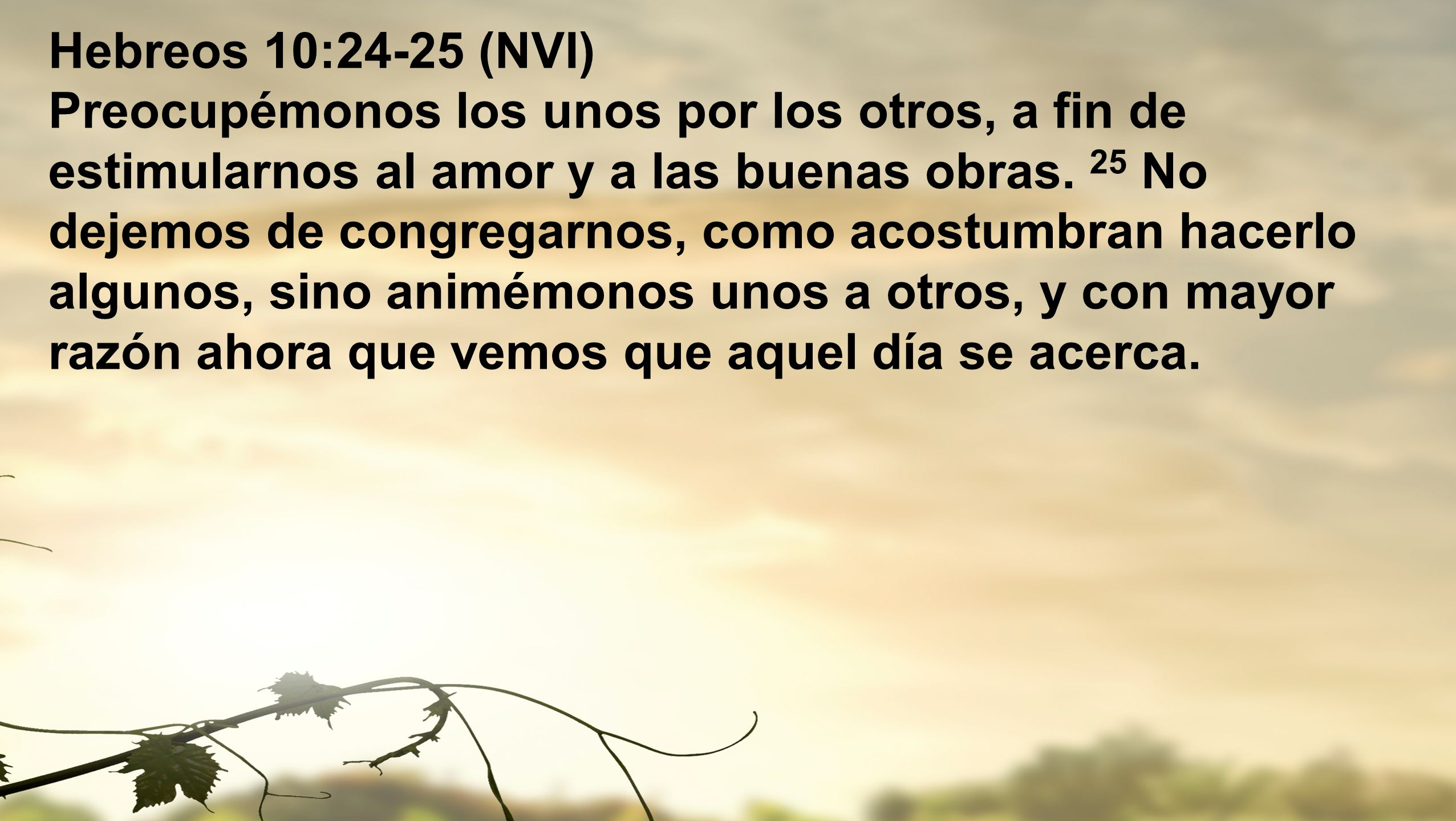 Hebreos 10:24-25 (NVI) Preocupémonos los unos por los otros, a fin de estimularnos al amor y a las buenas obras.