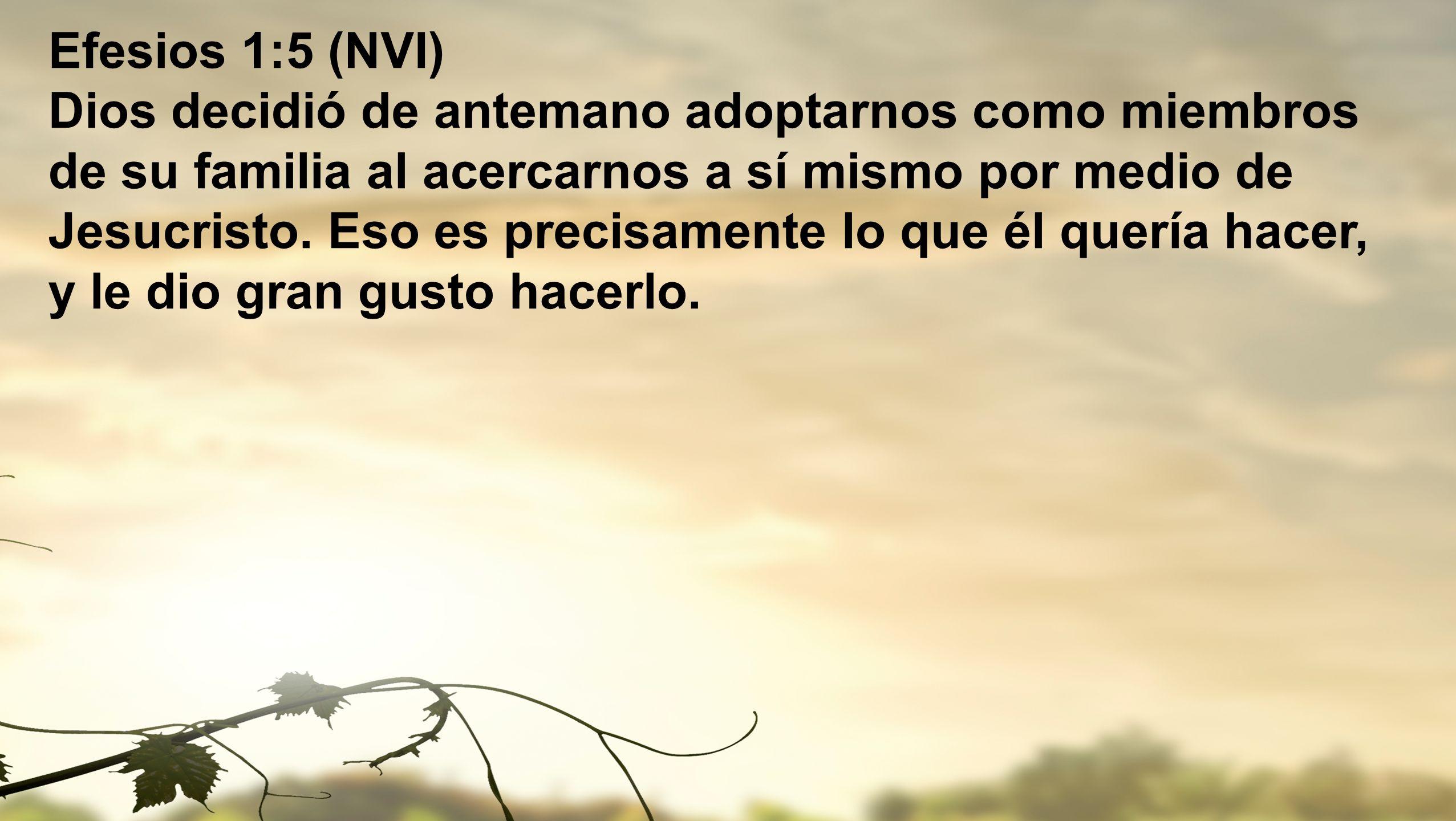 Efesios 1:5 (NVI) Dios decidió de antemano adoptarnos como miembros de su familia al acercarnos a sí mismo por medio de Jesucristo.