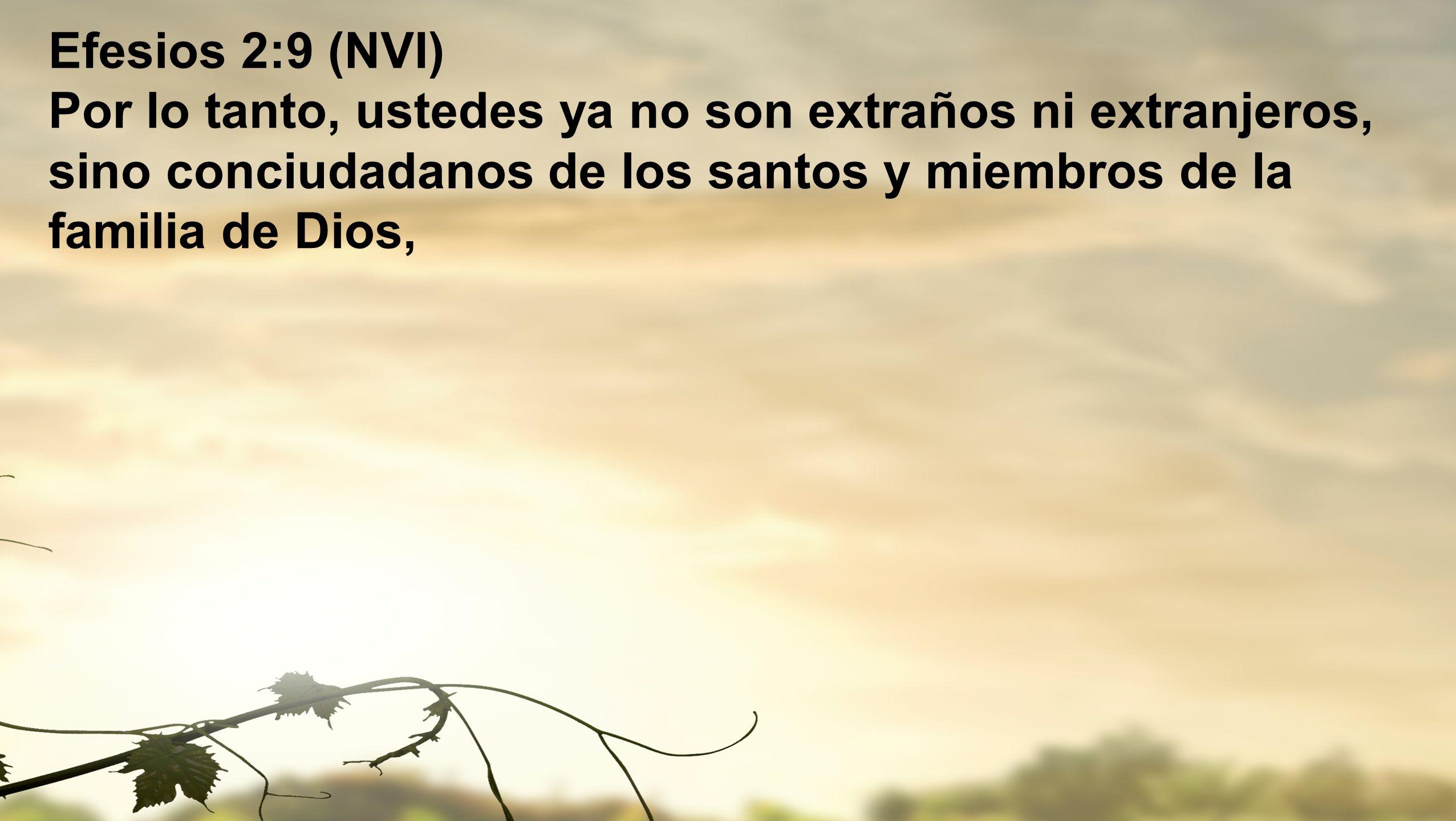 Efesios 2:9 (NVI) Por lo tanto, ustedes ya no son extraños ni extranjeros, sino conciudadanos de los santos y miembros de la familia de Dios,