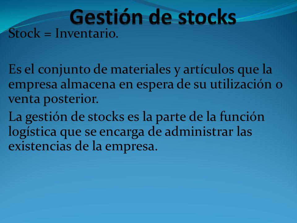 Stock = Inventario. Es el conjunto de materiales y artículos que la empresa almacena en espera de su utilización o venta posterior. La gestión de stoc