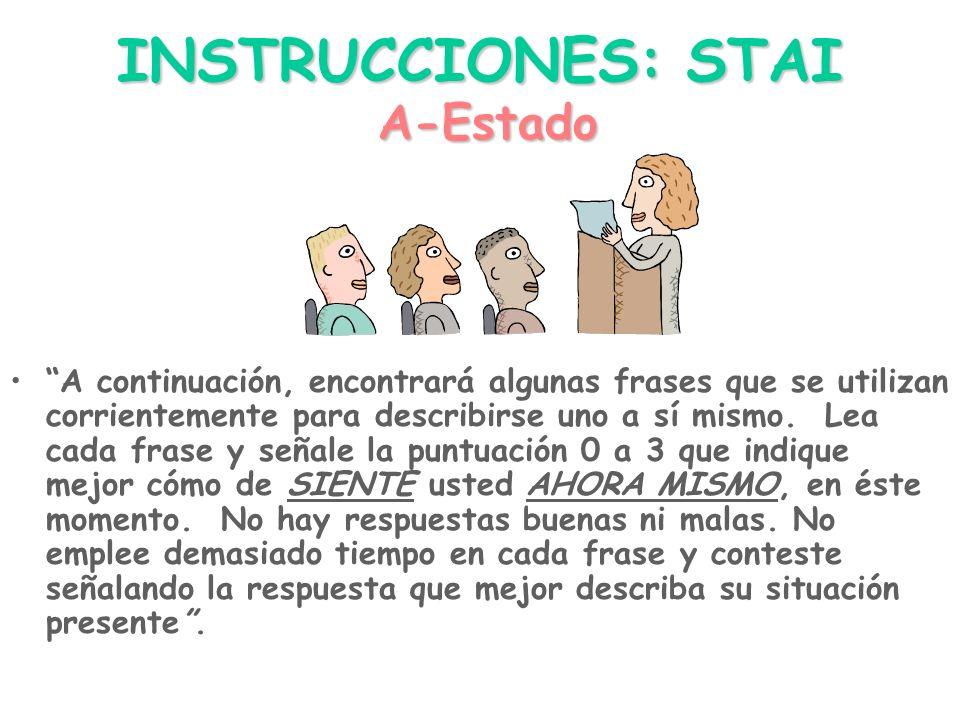 """INSTRUCCIONES: STAI """"A continuación, encontrará algunas frases que se utilizan corrientemente para describirse uno a sí mismo. Lea cada frase y señale"""