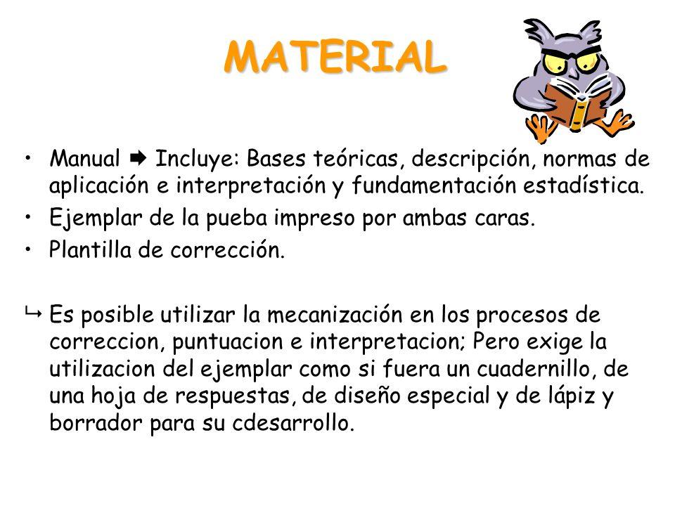 MATERIAL Manual  Incluye: Bases teóricas, descripción, normas de aplicación e interpretación y fundamentación estadística. Ejemplar de la pueba impre