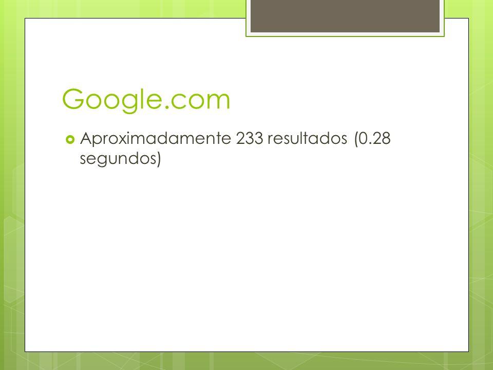 Google.com  Aproximadamente 233 resultados (0.28 segundos)