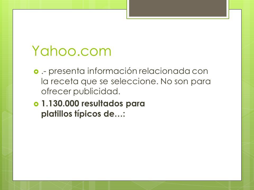 Yahoo.com .- presenta información relacionada con la receta que se seleccione.