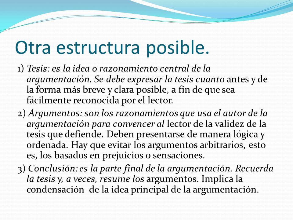 Otra estructura posible. 1) Tesis: es la idea o razonamiento central de la argumentación.