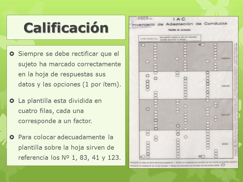 Calificación  Siempre se debe rectificar que el sujeto ha marcado correctamente en la hoja de respuestas sus datos y las opciones (1 por ítem).