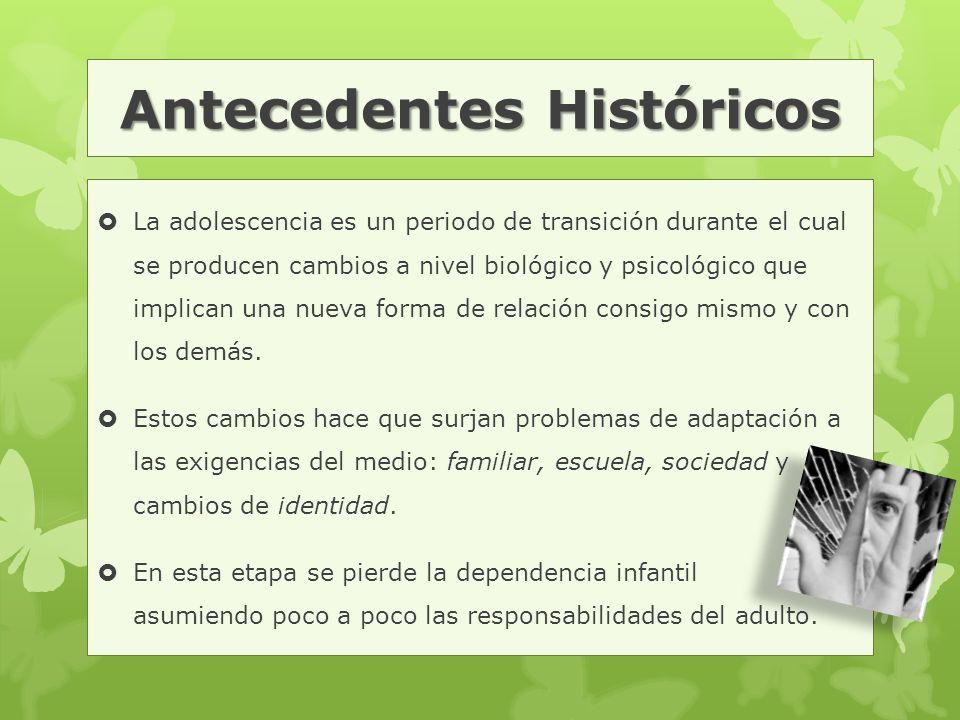 Antecedentes Históricos  La adolescencia es un periodo de transición durante el cual se producen cambios a nivel biológico y psicológico que implican una nueva forma de relación consigo mismo y con los demás.