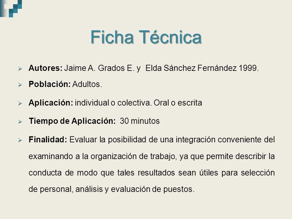Ficha Técnica  Autores: Jaime A.Grados E. y Elda Sánchez Fernández 1999.