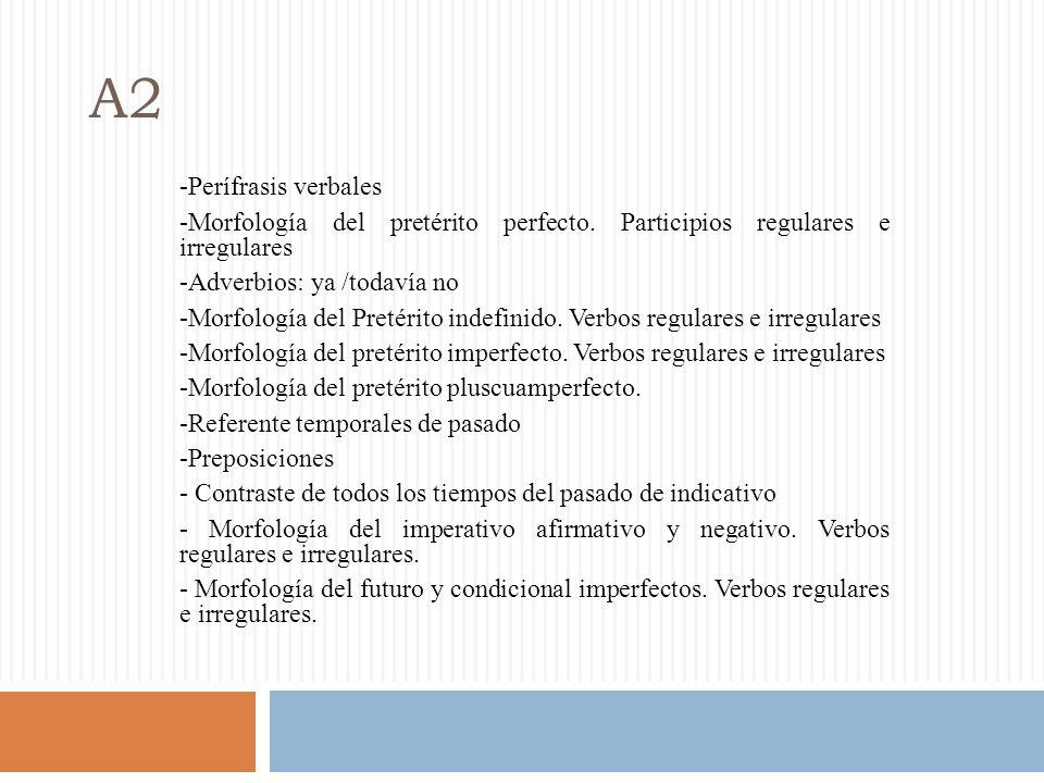 A2 -Perífrasis verbales -Morfología del pretérito perfecto.