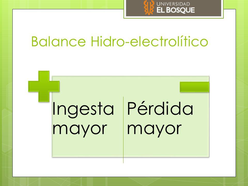 Balance Hidro-electrolítico Ingesta mayor Pérdida mayor