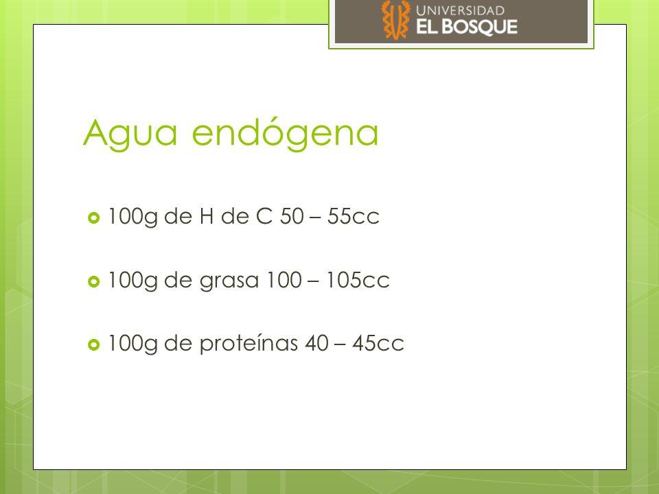 Agua endógena  100g de H de C 50 – 55cc  100g de grasa 100 – 105cc  100g de proteínas 40 – 45cc